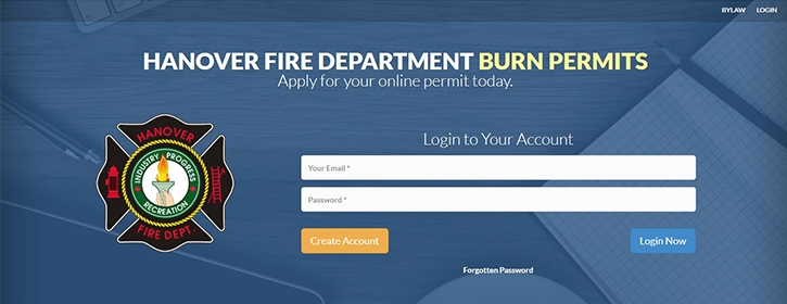 Photo of online registration for Burn Permit