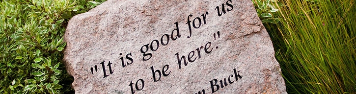 stone with 'it is good for us to be here, Abraham Buck' engraved